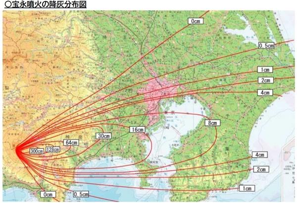 宝永噴火の降灰マップ